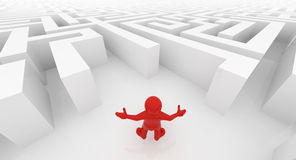 White maze, complex way to find exit. Red man standing in white maze, complex way to find exit, business concept stock illustration