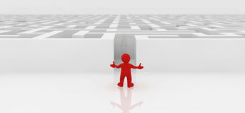 White maze, complex way to find exit. Red man standing in white maze, complex way to find exit, business concept Stock Image