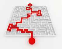 White maze and red solution line, complex way to find exit. Stock Images
