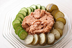 White meat tuna. & pickles royalty free stock photos