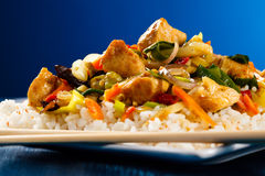 White meat, vegetables and rice Stock Photos