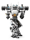 White Mech weapon with full array of guns pointed. On a white background Royalty Free Stock Image