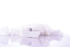 White medical cotton gauze bandage on white Stock Photo