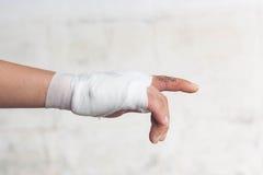 White medicine bandage on injury hand. Stock Photography