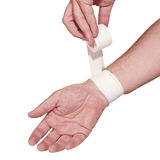 White medicine bandage on wrist. Royalty Free Stock Photography