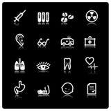 White medicine icons. On black background Royalty Free Stock Photography