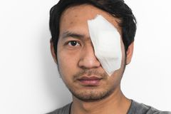 White medicine plaster patch on the eye Stock Images