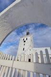White medieval church in Svindinge, Denmark Stock Photos