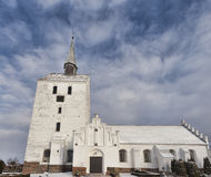 White medieval church in Svindinge, Denmark Royalty Free Stock Photo