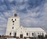 White medieval church in Svindinge, Denmark Royalty Free Stock Photo