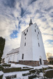 White medieval church in Svindinge, Denmark Royalty Free Stock Image