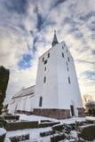 White medieval church in Svindinge, Denmark Royalty Free Stock Image