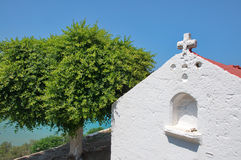 White Mediterranean church in Lindos at Rhodes Island Stock Images