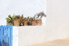 White mediterranean house detail Formentera Stock Photos