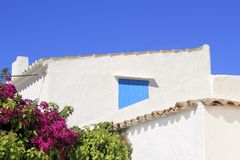 White mediterranean house detail Formentera Stock Photo