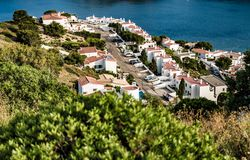 L`Escala blue bay between mountains from top of the hill Royalty Free Stock Photography