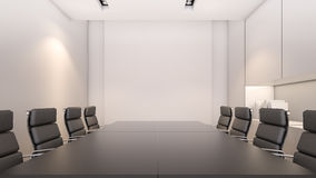 White meeting room and conference table / 3D rendering. An empty meeting room and wooden conference table Stock Photos