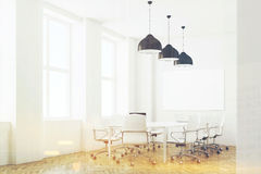 White meeting room with lamps, side, toned Stock Image