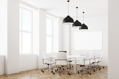 White meeting room with lamps, side Royalty Free Stock Photography