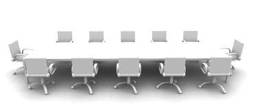 White Meeting room - side view. 3D rendered Boardroom. Sterile white lightning setup