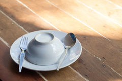 White Melamine tableware. Tableware sets for picnic in holidays on wooden background. dinner sets. lunch at outdoor stock photo