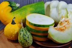 White melon, squash, pumpkin and patison - Vegetables from the family Cucurbitaceae Royalty Free Stock Photos