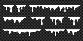 Free White Melt Drips, Milk Yogurt Flowing Drops. Vector Graffiti Liquid Drip Splatter, White Cream Drop Splash Stock Photo - 153371210