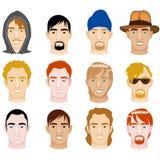 White Mens Faces stock illustration