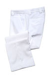 White mens trousers. White pants, trousers on white background Royalty Free Stock Image