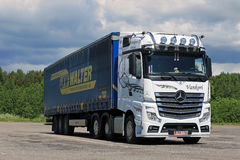 White Mercedes-Benz Actros 2551 Semi Trailer at Truck Stop Royalty Free Stock Image
