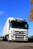 White Mercedes-Benz Actros Truck on a Clear Autumn Day Royalty Free Stock Image