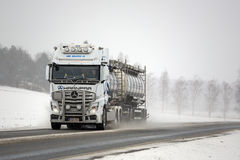 White Mercedes-Benz Actros Truck and Road Salt Stock Photos
