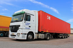 White Mercedes-Benz Actros Truck and Trailer Stock Image