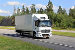 White Mercedes-Benz Antos Truck on Motorway Royalty Free Stock Photo