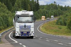 White Mercedes-Benz Arocs 3258L Truck on the Road Stock Photos