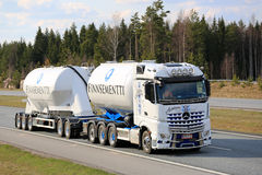 White Mercedes-Benz Arocs Tank Truck for Cement Haul Stock Images