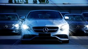 White Mercedes Benz Cars Royalty Free Stock Images