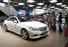 White mercedes-benz e 200 car Stock Photos