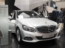 White mercedes-benz e-class car Stock Photography