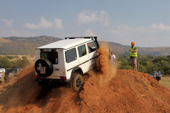White Mercedes-Benz G-Class on 4x4 Course Royalty Free Stock Photography