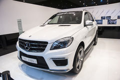 White mercedes-benz ml amg car Stock Photo