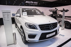 White mercedes-benz ml amg car. New white mercedes-benz ml amg car in 2014 the 10th zhengzhou dahe spring international auto show.take from zhengzhou henan china Stock Photos