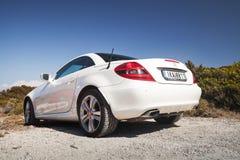 White Mercedes-Benz SLK 200, rear view Stock Photography