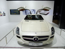 White Mercedes benz SLS AMG Stock Photos