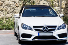 White mercedes  car parked   in Bodrum,Turkey Stock Photos