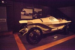 White 1914 Mercedes Grand Prix Car. Naples, Florida, USA – May 5, 2018:  White 1914 Mercedes Grand Prix Car displayed at The Revs Institute in Naples, Florida Stock Photos
