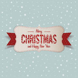 White Merry Christmas Banner with red Ribbon Royalty Free Stock Photo