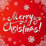 White Merry Christmas hand-writing lettering on Royalty Free Stock Image