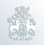 White Merry Christmas and Happy New Year greeting card Stock Photography