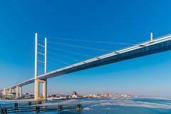 White Metal Bridge Under the Blue Sky Royalty Free Stock Photo